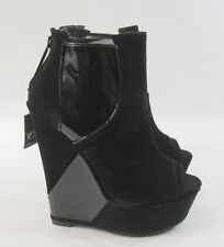 "NEW blacks 6"" high wedge heel 2"" platform open toe sexy ankle boot   6.5"