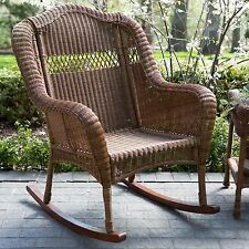 Brown Outdoor Resin Porch Patio Rocking Chair Seating Furniture Deck Poolside