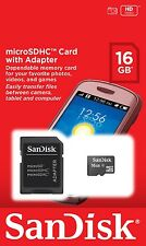 New Genuine Original SanDisk 16GB  Micro SD Memory Card  Adapter included