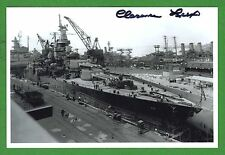 Clarence Lux WWII Pearl Harbor Survivor USS Tenn. Signed 4x6 B/W Photo E16277