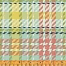 Windham Dover FLANNEL Mint Green Pink Peach Plaid Flower Floral Quilt Fabric