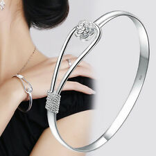 Fashion 925 Sterling Silver Plated Womens Flower Cuff Bangle Bracelet Xmas Gift