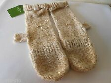 New Kate Spade Allover Sequin Cosmic Glow Pop Top Mittens - Pebble Gold!