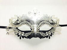 Laser Cut Metal Womens Venetian Mask Masquerade Party Silver Black w/Clear Gems