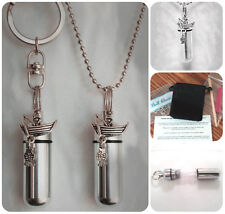 FISHERMAN Fishing  2pc.Special Set Cremation Urn Necklace & Keychain Urn w/Pouch