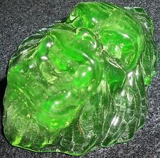 Green Vaseline Sasquatch Bigfoot uranium glass ornament animal paperweight lion