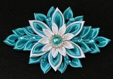 Handmade Girl's/Ladies French Barrette Hair Clip, Kanzashi Style, Turquoise