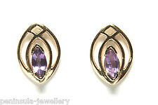 9ct Gold Amethyst Studs Earrings Gift Boxed Made in UK