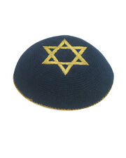 Blue Gold Star Of David Knitted Yarmulke Kippah 15 cm Cupples Jewish Kippa Hat