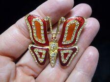 Authentic Vintage 1980's ROMAN Enamel &Rhinestone Enamel Butterfly Brooch