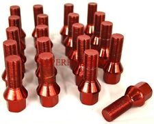 NNR 28MM CONE SEAT LUG BOLTS SET OF 20 14X1.5 RED FITS AUDI & VOLKSWAGEN