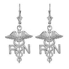 Sterling Silver Medical Registered Nurse Drop / Dangle Leverback Earrings