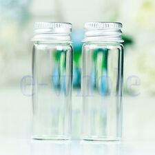 10X Piccolo Cancella Bottiglie di vetro fiale 22x60mm Con viti coperchio 14ml FS