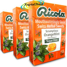 3x Ricola Scrumptious Orange Mint Swiss Herbal Lozenges Sweets Sugar Free 45g