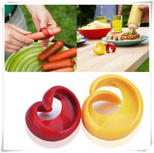 2pcs Durable Plastic Home Kitchen Tool Spiral Hot Dog Sausage Cutter Slicers
