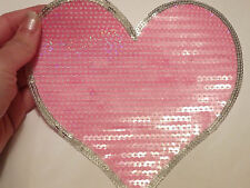 large pink love heart patches sequin applique motif iron on sew on craft UK