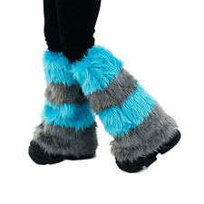 PAWSTAR Cheshire Cat Leg Warmers Fluffies Teal Blue Gray Boot Cover [ALT] 2900
