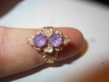 14K 2 Stone Amethyst & Akoya Sea Pearl Victorian Ring Size 4.5 Antique Beauty
