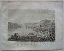 Assmannshausen Rhein-Taunus Ansicht Rhein Orig Kupferstich J. Roux 1822 Hessen