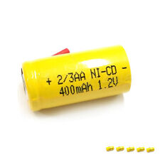 6 x 2/3AA 2/3 AA 400mAh 1.2V NiCd Ni-Cd Rechargeable Battery with Tabs Yellow