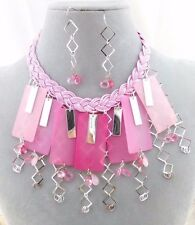 Pink Silver Tile Drop Necklace Set Bead Fun! Fashion Jewelry NEW