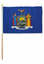 "12x18 12""x18"" State of New York Stick Flag wood Staff"
