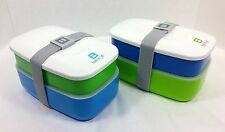 lot set 2 Bentgo All-in-One 2 part Stackable Lunch Bento Box Green w utensils