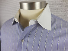 Brooks Brothers Mens Pinstripe Blue Dress Shirt White Collar Sz 17 2XL Button Up