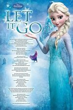 FROZEN MOVIE POSTER ~ LET IT GO LYRICS 24x36 Princess Elsa Disney Idina Menzel