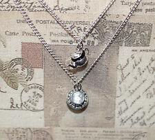 Cute tea cup and teapot pendant silver layered necklace Alice In Wonderland