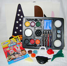 NEW KIDS FACE PAINTING SET MAKE UP PENCILS BRUSH SPONGE GLITTER & MORE! GRAFIX