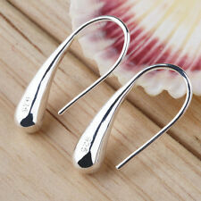 New Fashion Jewelry Teardrop Hook Stainless Steel Silver Hoop Earrings CC