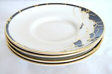 4 Pickard Saucers Elektra Hand Crafted USA China Ivory Black Gold Plates Dishes