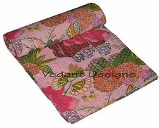 INDIAN FLORAL KANTHA QUILT BEDDING REVERSIBLE HANDMADE BED SPREAD THROW TWIN