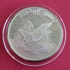 MIRAGE 2000c 1995 $50 1oz .999 FINE SILVER PROOF  - marshall islands