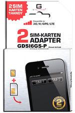 Dual SIM Adapter iPhone 6S PLUS/GDSI6GS-P/2JAHRE Herstellergarantie/Mehrsprachig