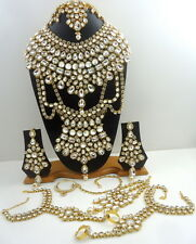 TRADITIONAL WHITE CZ GOLD TONE NECKLACE PASSA BRIDAL DULHAN JEWELRY SET 9 PCS