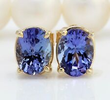 2.80CTW Natural Blue Tanzanite in 14K Solid Yellow Gold Stud Earrings