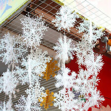 30Pcs White Snowflake Ornaments Christmas Holiday Party Home Xmas Decor