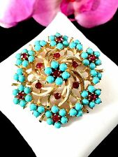 RARE CROWN TRIFARI FUCHSIA PINK RHINESTONE TURQUOISE BEAD TREE OF LIFE BROOCH