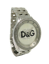 Dolce & Gabbana Time DW0131 Men's Round Analog Clear Stone Stainless Steel Watch