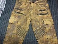 New Men's Jordan Craig Moto Wheat Foil Cargo Denim Jean Size 36x34 Brand New!