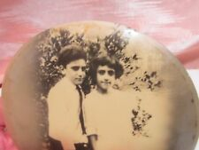 Antique Celluloid Like Photo Button, of Teen Pair