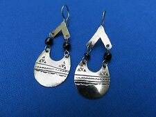 NIGER African Ethnic Jewelry TOUAREG Tuareg Silver Earrings ETCHED PENDANT E