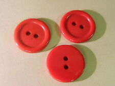 NEW 25 3/4  INCH ATOM RED  POLISHED BUTTON 2 HOLE W/RIM