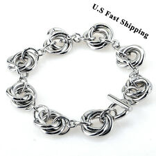 Unique Creative Silver Tone Triple  Round Link Chain Stainless Steel Bracelets