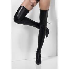 Women's Black Sexy Wet Look Hold Ups Matrix's Fancy Dress Hen Naughty Club Wear