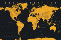 WORLD MAP - GOLD POSTER - 24x36 GEOGRAPHY GLOBE COUNTRY 34133