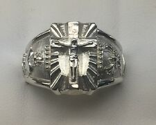 Crucifix Cross ring Sacred Heart of Jesus Holly spirit Solid Sterling Silver 925