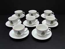 Cuthbertson AMERICAN CHRISTMAS TREE Cups and Saucers / Set of 8 / Red Trim